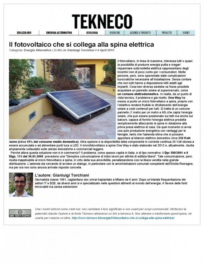 Microfotovoltaico One Way 245 Wp Con Sole