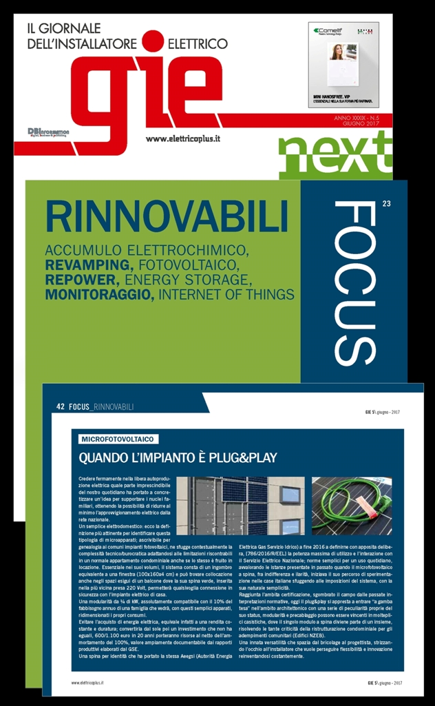 Giugno 2017 Focus Rinnovabili Plug and Play