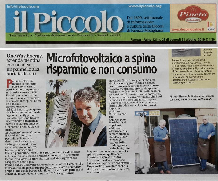 """Faenza: """"il Piccolo"""" e le sue storie,  Fotovoltaico Plug & Play"""